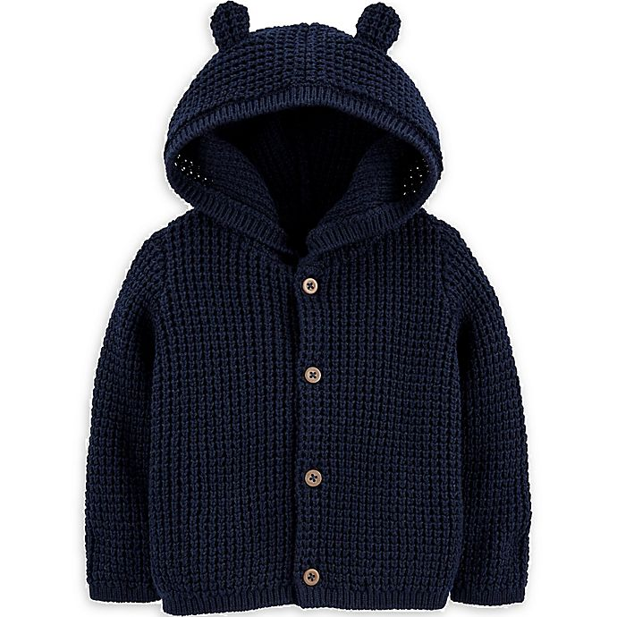 Alternate image 1 for carter's® Size 3M Hooded Cardigan in Navy