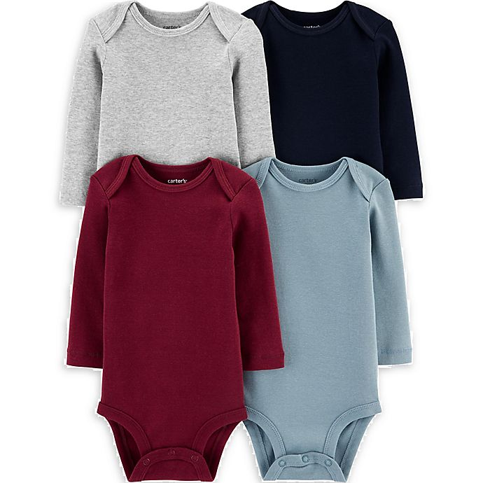 Alternate image 1 for carter's® 4-Pack Long Sleeve Bodysuits in Navy/Heather