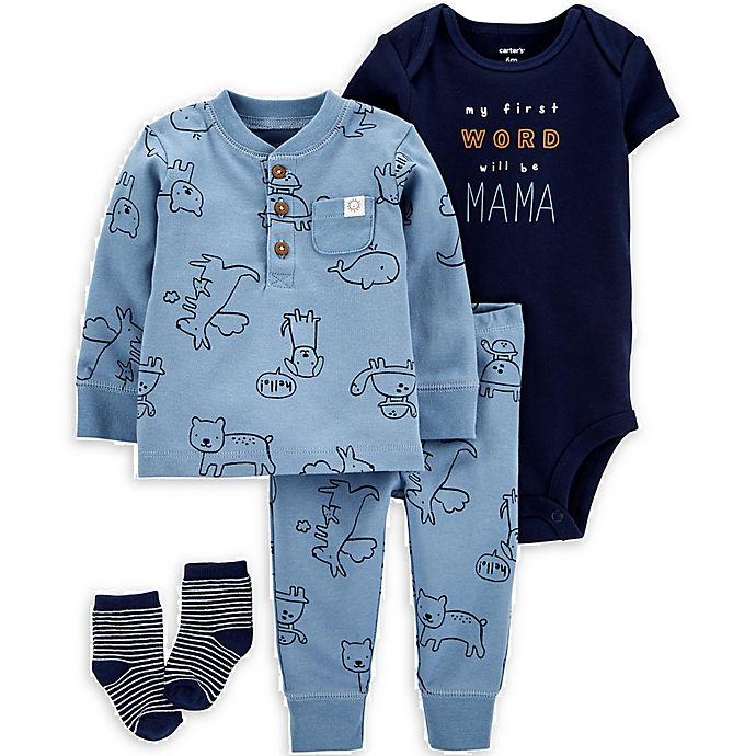 Alternate image 1 for carter's® Size 9M 4-Piece Animal Take-Me-Home Set in Blue