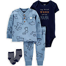 carter's® Size 3M 4-Piece Animal Take-Me-Home Set in Blue