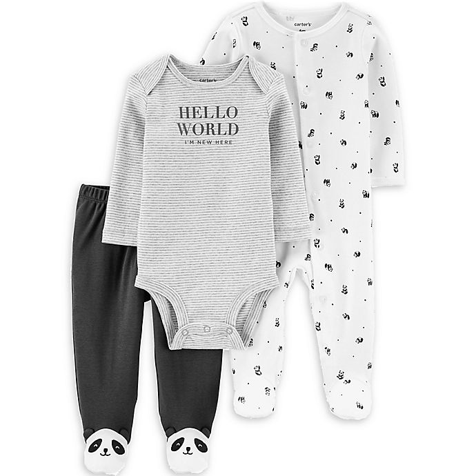 Alternate image 1 for carter's® Panda Bear 3-Piece Bodysuit and Footed Pant Set