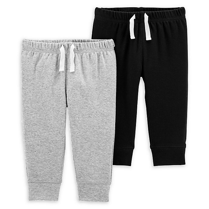 Alternate image 1 for carter's® Size 3M 2-Pack Pull-On Pants in Black/Grey