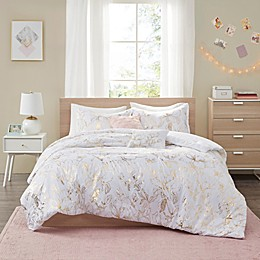 Intelligent Design Magnolia Metallic Printed Floral Bedding Collection in Gold