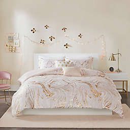Intelligent Design Rebecca 4-Piece Reversible Twin/Twin XL Duvet Cover Set in Blush/Gold