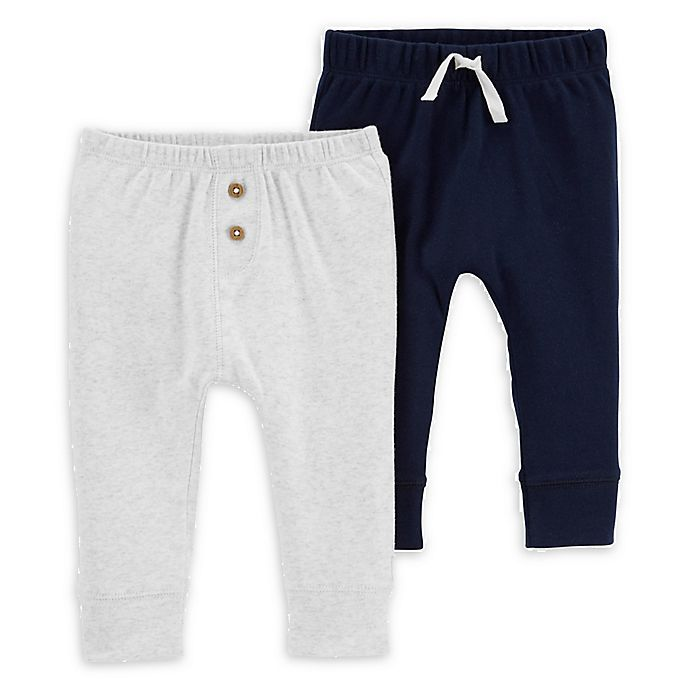 Alternate image 1 for carters® 2-Pack Pull On Pants in Blue/Grey