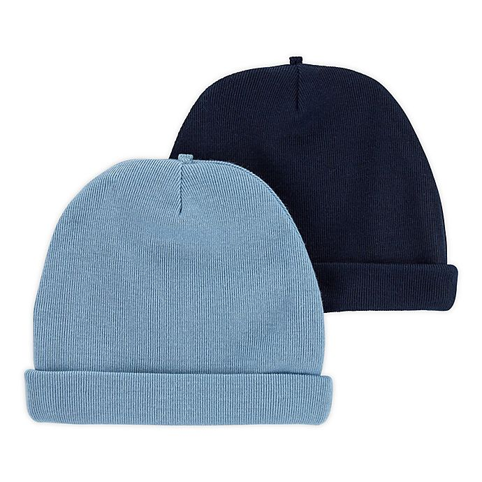 Alternate image 1 for carter's® Size 0-3M 2-Pack Caps in Blue