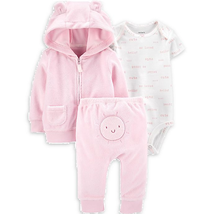 Alternate image 1 for carter's® Size 3M 3-Piece Sun Little Jacket, Bodysuit, and Pant Set in Pink
