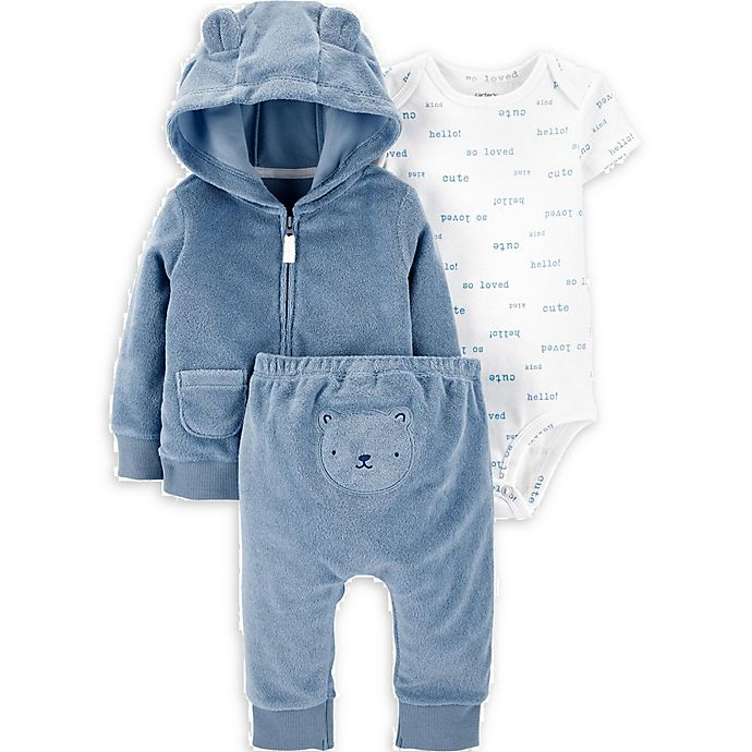 Alternate image 1 for carter's® 3-Piece Bear Little Jacket, Bodysuit, and Pant Set in Blue