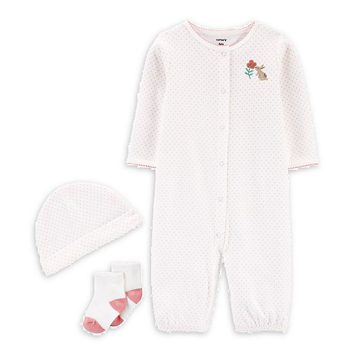 Alternate image 1 for carter's® 3-Piece Dot Bunny Convertible Gown, Cap, and Socks Set in Pink