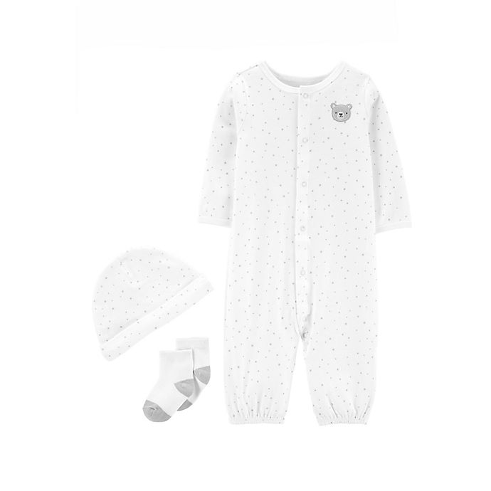 Alternate image 1 for carter's® 3-Piece Dot Bear Convertible Gown, Cap, and Socks Set in Grey