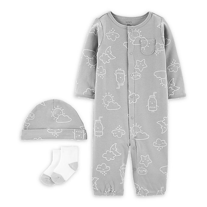 Alternate image 1 for carter's® Size 3M 3-Piece Clouds Convertible Gown, Cap, and Socks Set in Grey