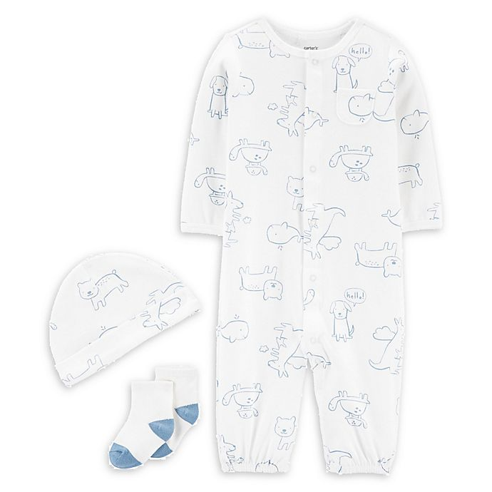 Alternate image 1 for carter's® 3-Piece Trace Animals Convertible Gown, Cap, and Socks Set in Blue