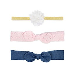 carters® 3-Pack Chambray  Headwraps in Pink