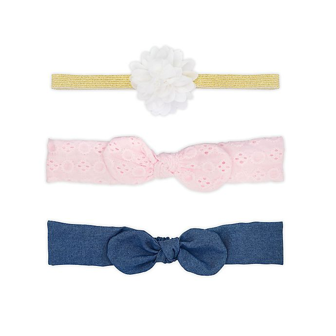 Alternate image 1 for carters® 3-Pack Chambray  Headwraps in Pink