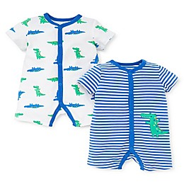 Little Me® 2-Pack Dino Rompers in Blue