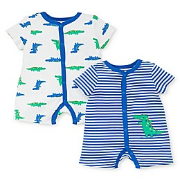 Little Me® 2-Pack Gator Rompers in Blue