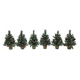 1.5-Foot Pre-Lit Traditional Frosted Berry Artificial Christmas Trees in Green (Set of 6)