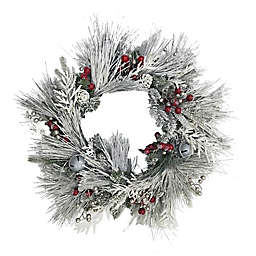Winter Wonderland 28-Inch Pre-Lit Flocked Wreath