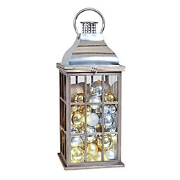 Winter Wonderland Decorative Wood & Metal Lighted Lantern in Brown/Chrome
