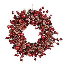 22-Inch Berry & Pinecone Decorative Artificial Wreath
