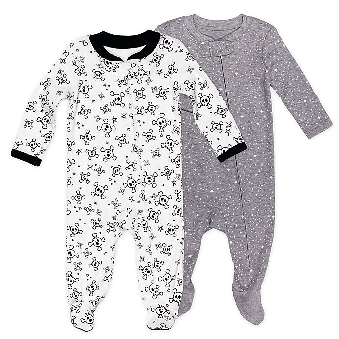 Alternate image 1 for The Honest Company® 2-Pack Skulls Organic Cotton Sleep & Play Footies