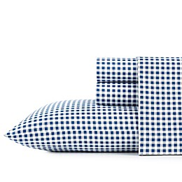 Poppy & Fritz® Gingham Plaid Cotton Percale Sheet Set in Navy