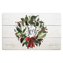 Home Dynamix Cook N Comfort Joy Wreath 18-Inch x 30-Inch Kitchen Mat in Ivory/Green/Red
