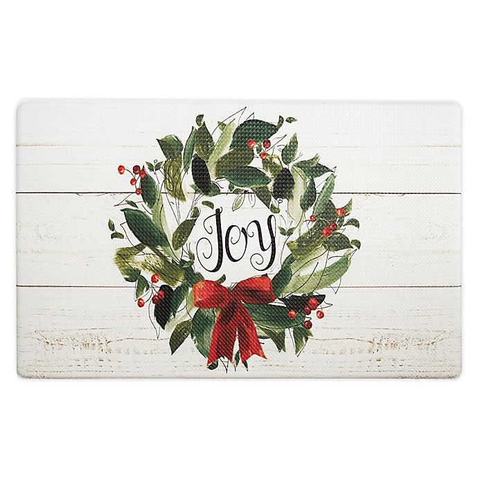 Alternate image 1 for Home Dynamix Cook N Comfort Joy Wreath 18-Inch x 30-Inch Kitchen Mat in Ivory/Green/Red