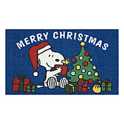"Peanuts Snoopy Merry Christmas 18"" x 30"" Kitchen Mat in Navy"