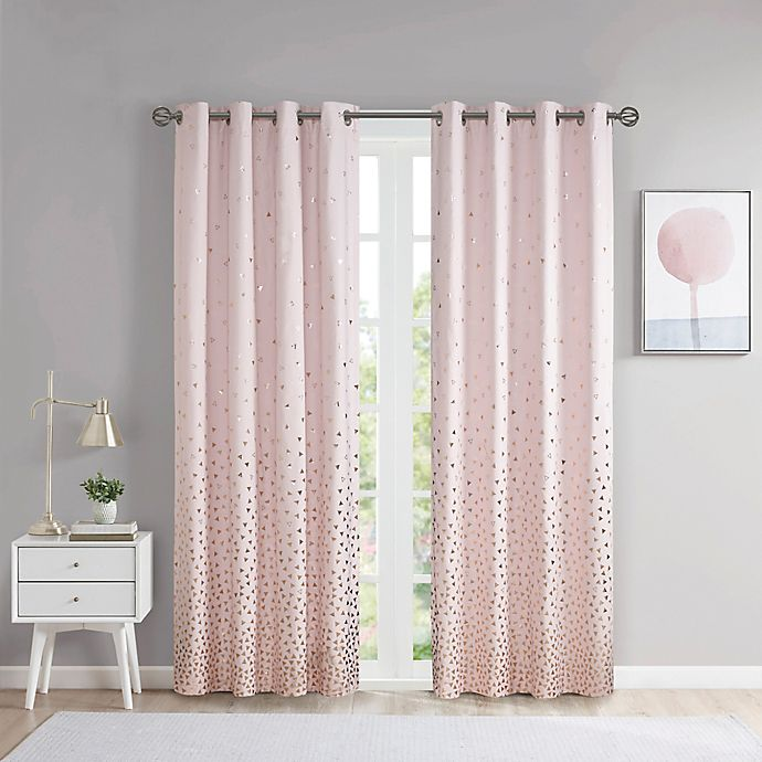 Alternate image 1 for Intelligent Design Zoey 84-Inch Grommet Blackout Window Curtain Panel in Blush/Rose Gold