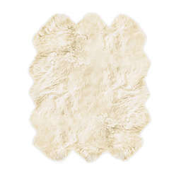 Natural 100% New Zealand Sheepskin 5-Foot 9-Inch x 6-Foot Area Rug in White
