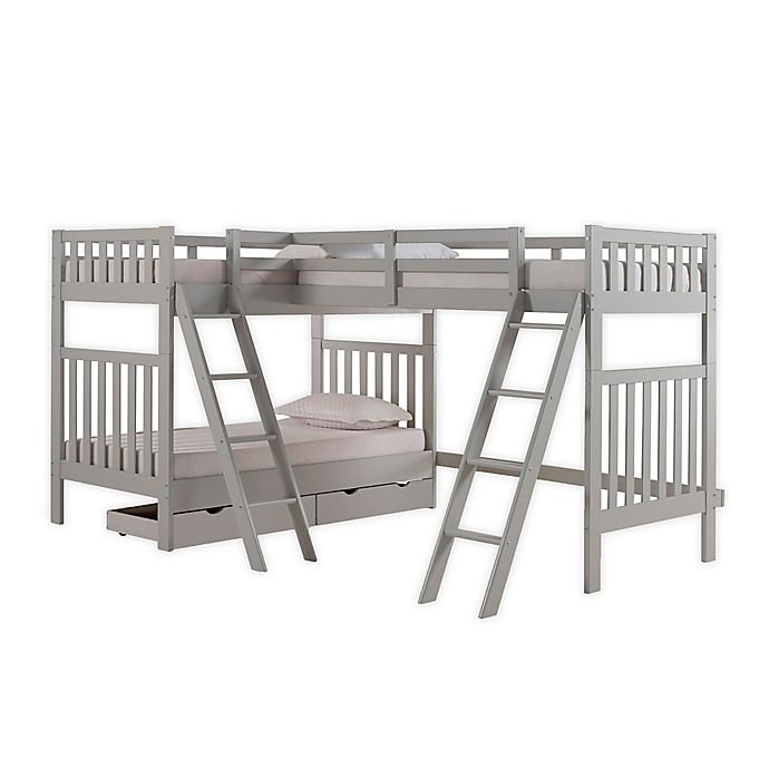Alternate image 1 for Aurora Triple Twin Bunk Bed with Storage in Grey