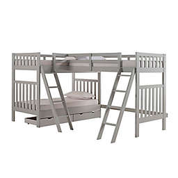 Aurora Triple Twin Bunk Bed with Storage in Grey