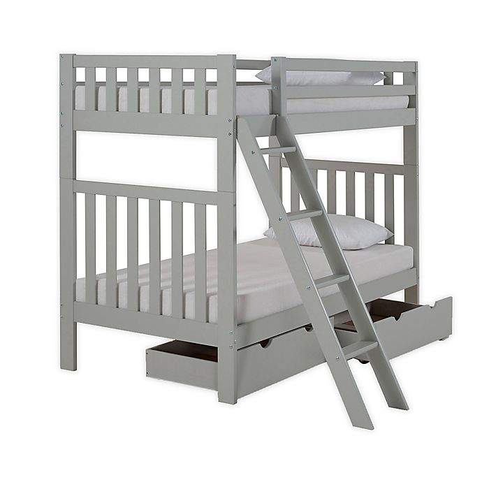 Alternate image 1 for Aurora Twin Bunk Bed with Storage in Grey