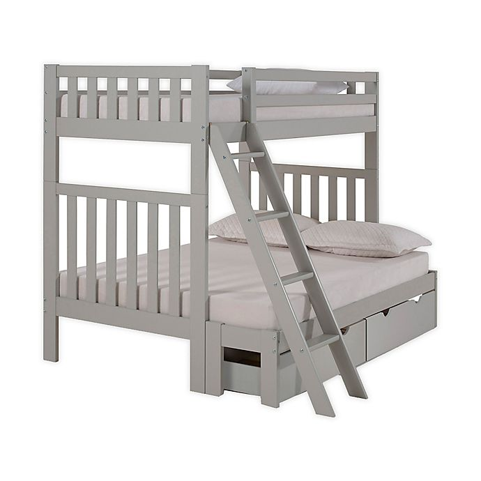 Alternate image 1 for Aurora Twin Over Full Bunk Bed with Storage in Grey