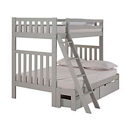 Aurora Twin Over Full Bunk Bed with Storage in Grey