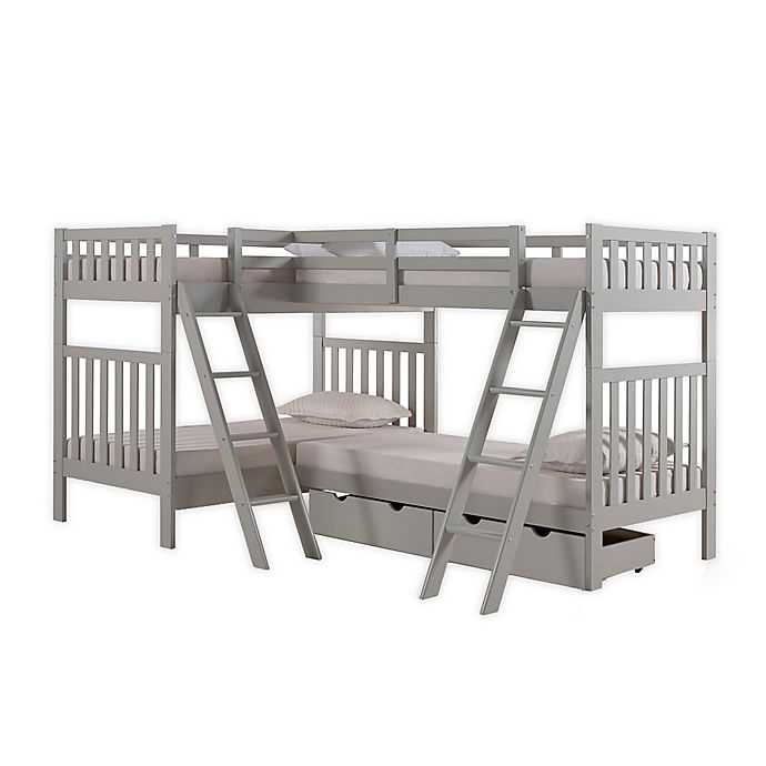 Alternate image 1 for Aurora Twin Quad Bunk Bed with Storage in Grey