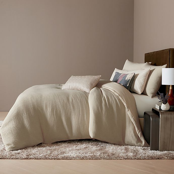 Alternate image 1 for O&O by Olivia & Oliver™ Barona Pin Stripe 3-Piece King Duvet Cover Set in Oat