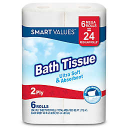 Smart Values™ 6 Mega Rolls Ultra Strong & Absorbent Bath Tissue