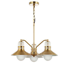 JONATHAN Y Colin 3-Light 22-Inch Adjustable Iron Retro Chandelier in Brass/Gold