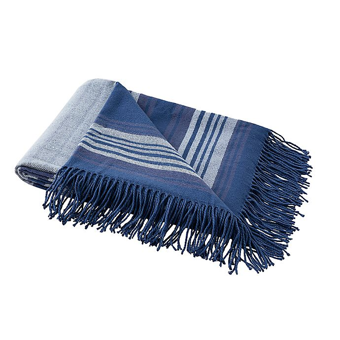 Alternate image 1 for Boston Traders® Leo Striped Throw Blanket in Blue Grey