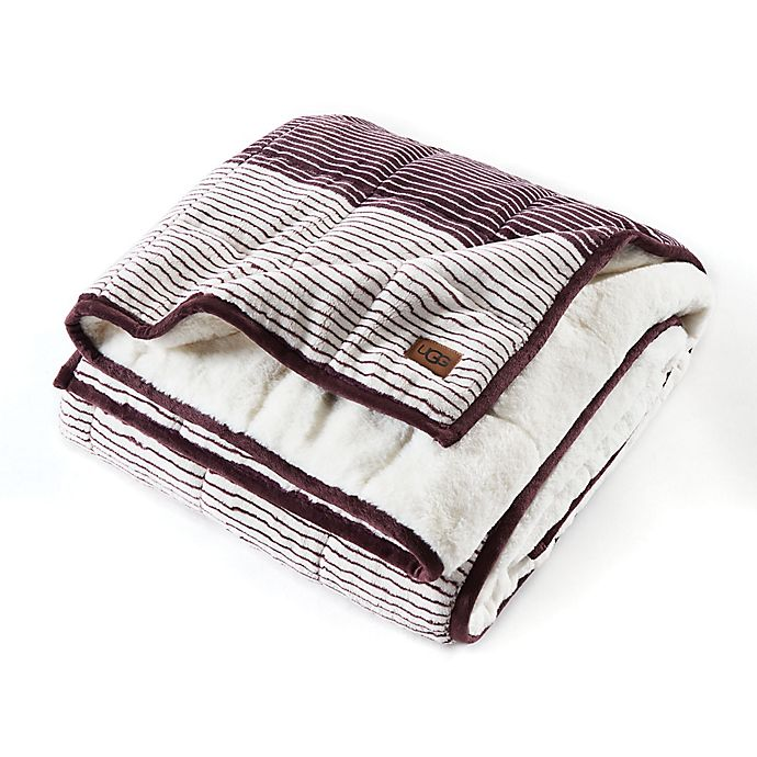 Alternate image 1 for UGG® Serene Reversible Striped 12 lb. Weighted Throw Blanket