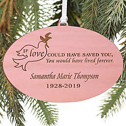 Forever Loved Personalized Memorial Wood Ornament in Pink Stain