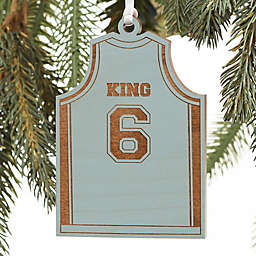 Basketball Jersey Personalized Wood Ornament in Blue Stain