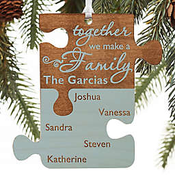 Pieces Of Love Personalized Family Wood Ornament in Blue Stain