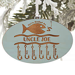 Hooked On You Engraved Wood Ornament in Blue Stain