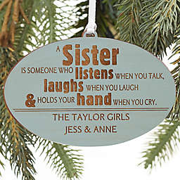 Special Sister Personalized Wood Ornament in Blue Stain
