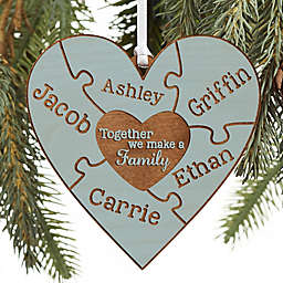 Together We Make A Family Personalized Wood Ornament in Blue Stain