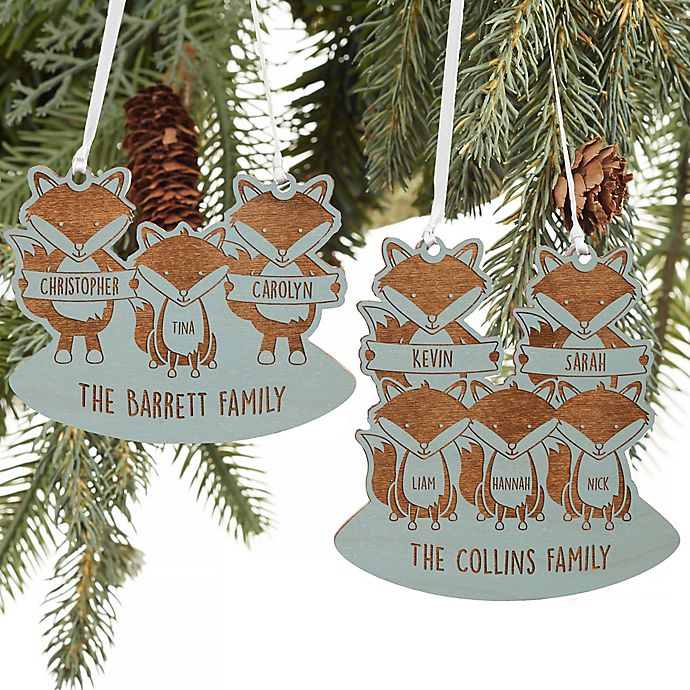 Alternate image 1 for Fox Family Personalized Wood Ornament in Blue Stain