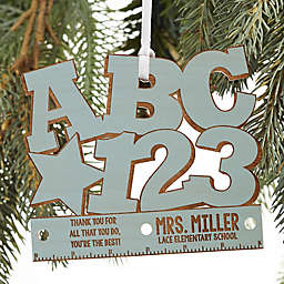 ABC & 123 Personalized Teacher Ornament in Blue Stain